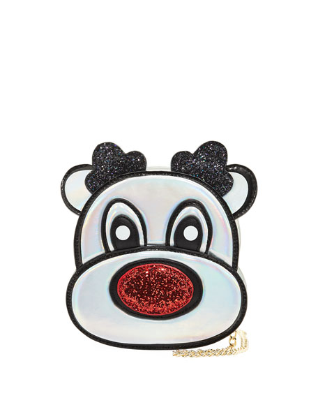 HANNAH BANANA GIRLS' HOLOGRAPHIC REINDEER CROSSBODY BAG