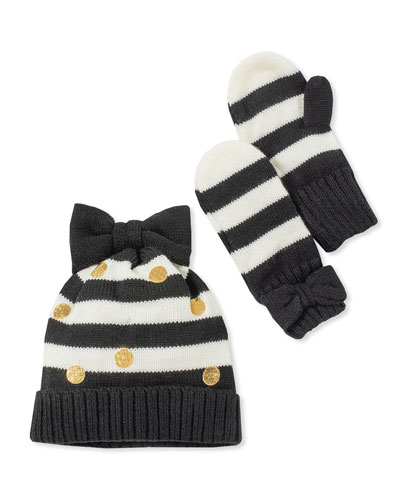 girls' striped bow hat and mittens boxed set