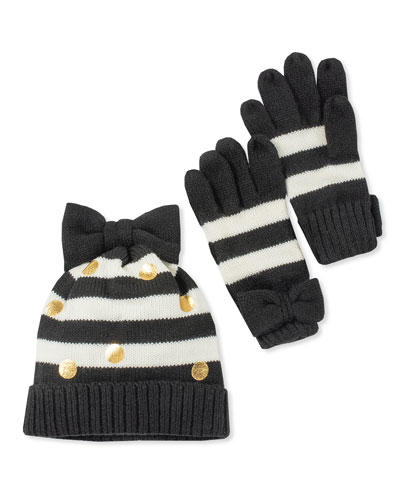 girls' striped bow hat and gloves boxed set