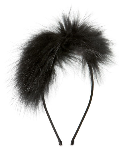 Bari Lynn Girls' Royal Fur Headband, Black