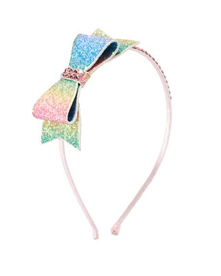 Bari Lynn Girls' Double Glitter Bow w/ Crystal Trim