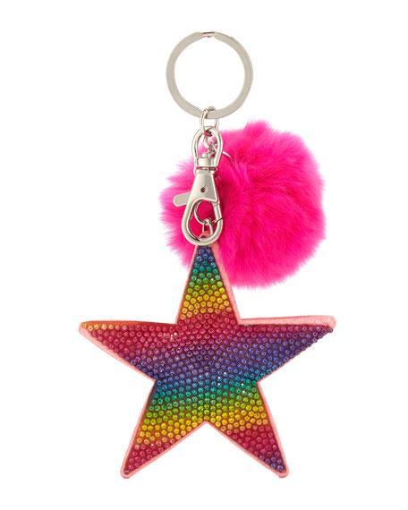 Bari Lynn GIRLS' CRYSTAL RAINBOW STAR KEY CHAIN W/ FUR POMPOM