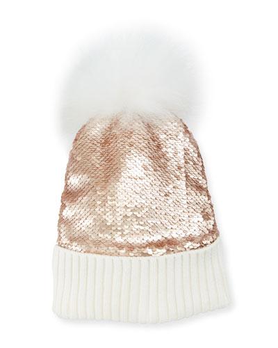 Girls' Flip Sequin Beanie Hat w/ Fur Pompom