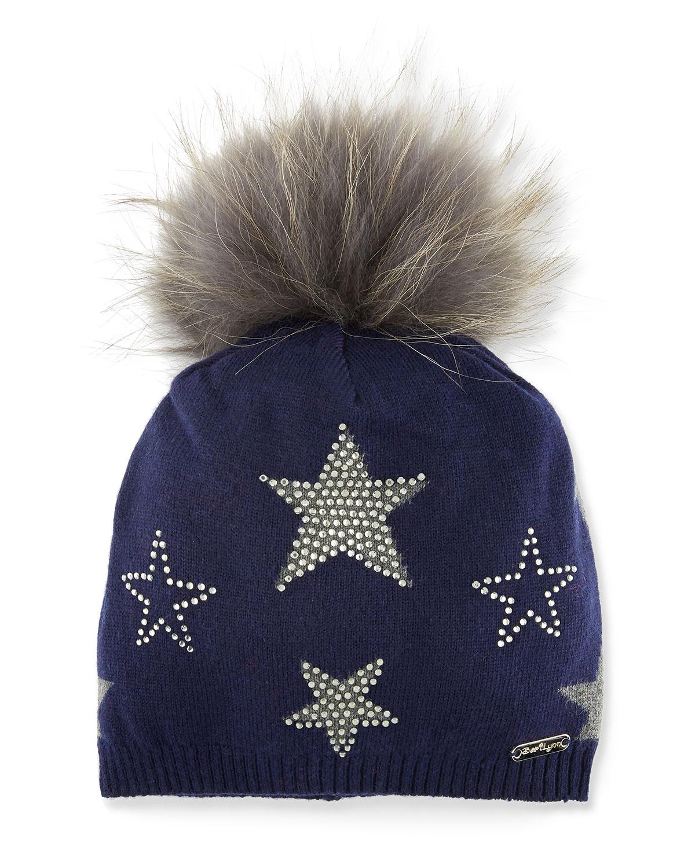 9e90d0f0226 Bari Lynn Girls  Crystal Star Studded Beanie Hat w  Fur Pompom ...