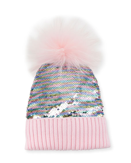 Bari Lynn Girls  Flip Sequin Beanie Hat W  Fur Pompom In Pink  4f9d6af9756
