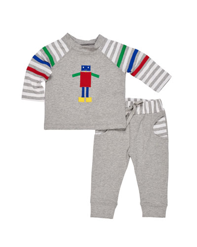 French Terry Robot Top w/ Matching Pants, Size 6-24 Months
