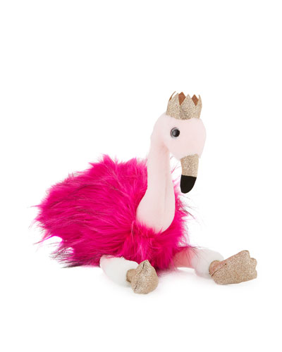 Stuffed Flamingo Toy with Crown, 18