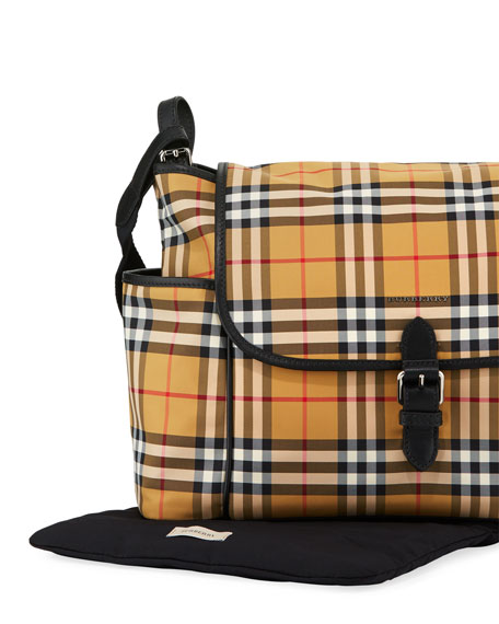 Burberry Flap-Top Check Canvas Diaper Bag