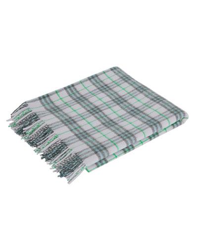 Merino Wool Fringe Check Baby Blanket
