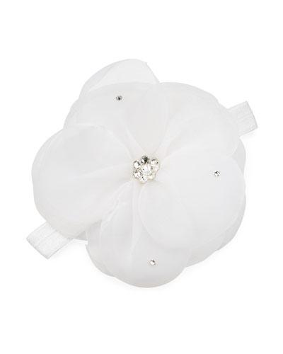Baby's Crystal Embellished Sheer Flower Elastic Headband