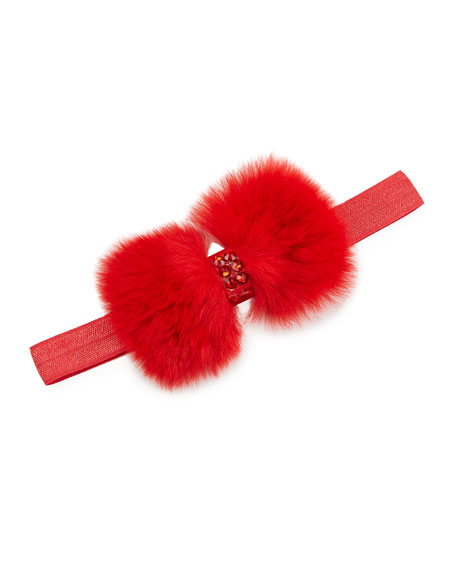 Baby'S Crystal Embellished Fur-Bow Elastic Headband in Red