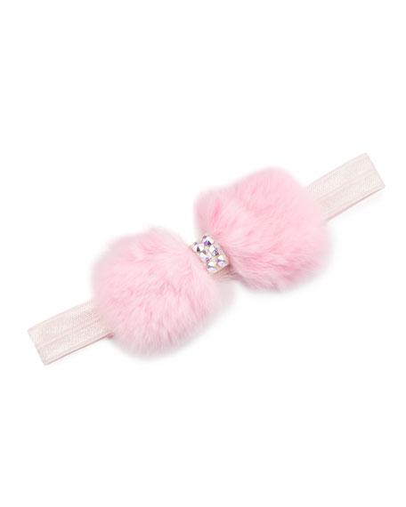 Baby'S Crystal Embellished Fur-Bow Elastic Headband in Pink