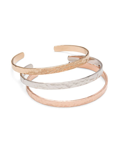 Personalized Hammered Open Bangles, Set of 3