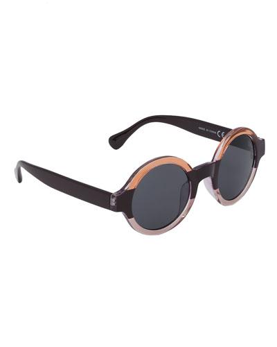 Kids' Selah Striped Round Sunglasses