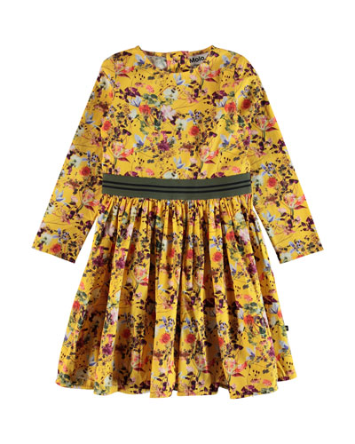 Christin Floral Long-Sleeve Dress, Size 2T-14