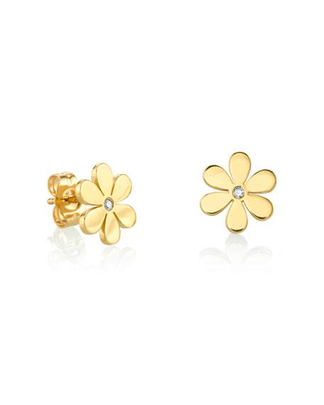 Sydney Evan Jewelry 14K GOLD SINGLE DIAMOND DAISY STUD EARRINGS, YOUTH 7-14