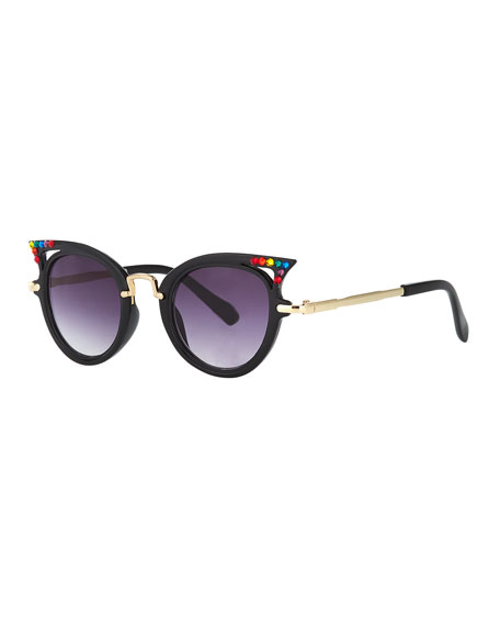 Bari Lynn Kids' Cat-Eye Sunglasses w/ Rainbow Swarovski