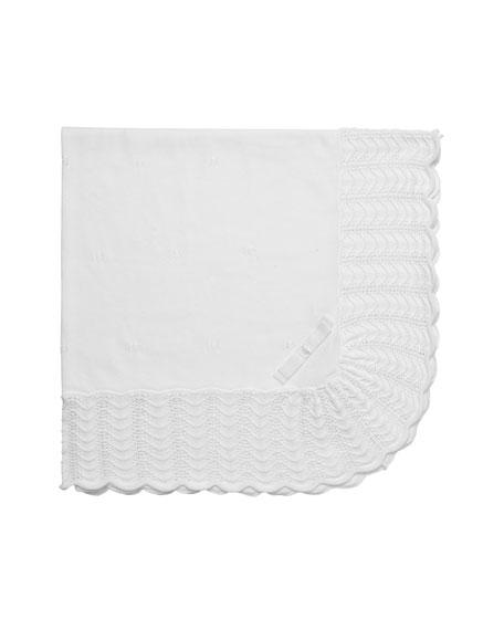 Pili Carrera Ruffle-Trim Knit Baby Blanket