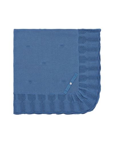 Knit Cotton Baby Blanket w/ Ruffle Border