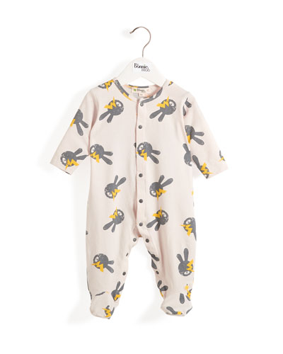Bunny & Lightning Bolt Printed Footie Pajamas  Size 0-9 Months