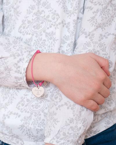 Kids' Sterling Silver Heart Charm Braid Bracelet  Fuchsia