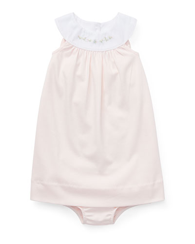 Interlock Embroidered Knit Dress w/ Matching Bloomers, Size 6-24 Months
