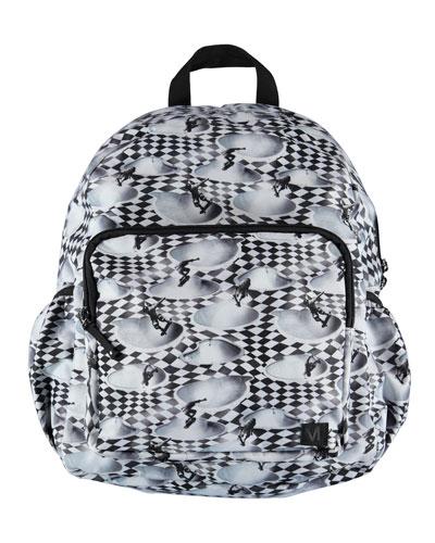 Boys' Skater Check Print Big Backpack