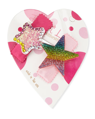 Pastel & Rainbow Stars Hair Clip Set