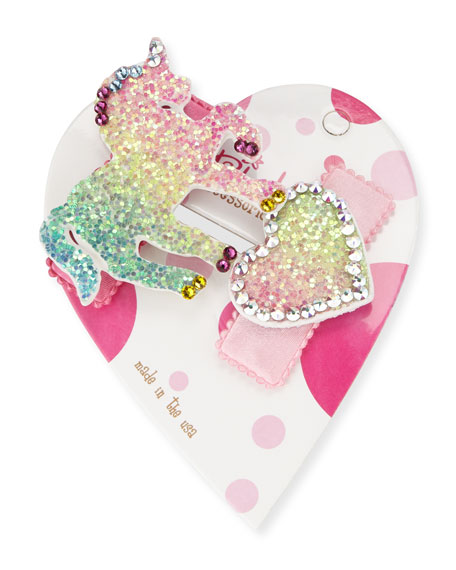 Bari Lynn Accessories HEARTUNI GLITTER UNICORN & HEART HAIR CLIP SET