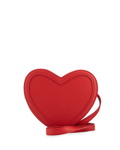 Kids' Heart-Shaped Faux Leather Crossbody Bag