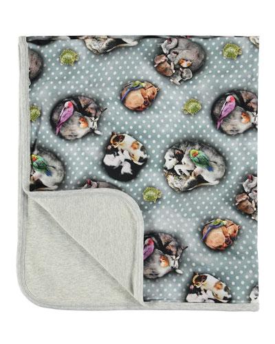 Neala Sleeping Pets Polka-Dot Print Baby Blanket