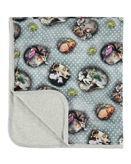 Molo Neala Sleeping Pets Polka-Dot Print Baby Blanket