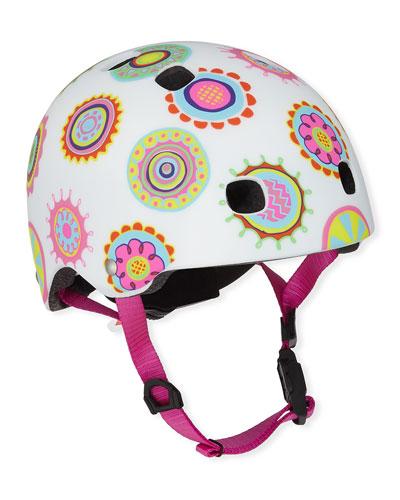 Girls' Floral Doodle Dot-Print Helmet, XS