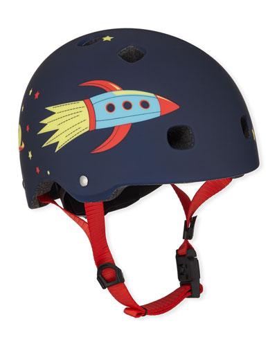Boys' Rocket-Print Helmet, XS