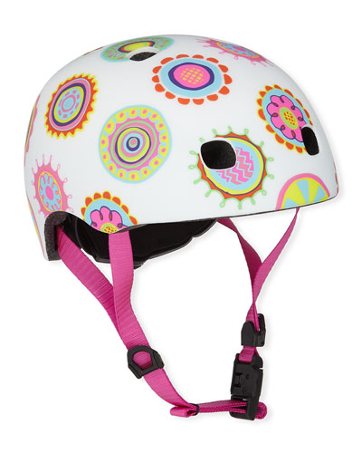 Girls' Doodle Dot-Print Helmet, S