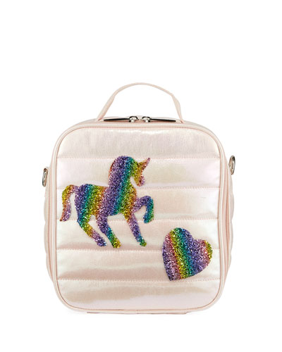 Kid's Puffy Lunch Box w/ Unicorn & Heart Crystal Patches