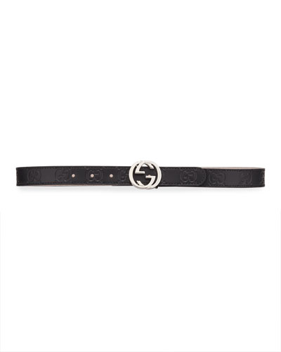 Kids' Signature Gucci Leather Belt