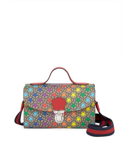 Kids' Rainbow-Star GG Supreme Top Handle Shoulder Bag