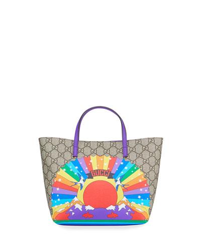 Kids' Rainbow Print GG Supreme Tote Bag