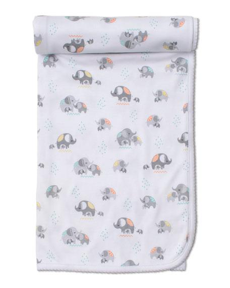 Kissy Kissy Elephant Hugs Printed Pima Baby Blanket