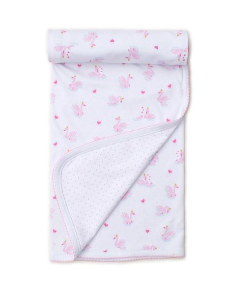Kissy Kissy Sparkling Swans Reversible Pima Baby Blanket