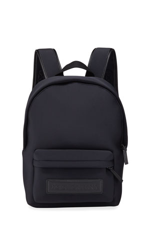 Dolce & Gabbana Kid's Neoprene Backpack w/ Leather Logo Patch