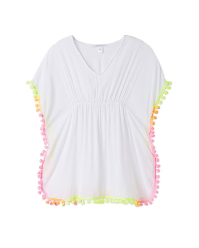 Poncho Coverup With Neon Pompoms  Size 2-14