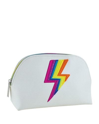 Rainbow Lightning Bolt Faux Leather Cosmetic Bag