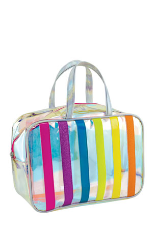 Iscream Iridescent Striped Clear Cosmetic Bag
