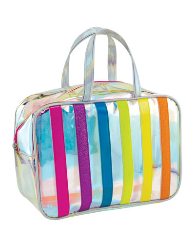 Iridescent Striped Clear Cosmetic Bag