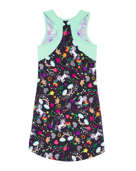 Girl Power Sport Unicorn Print Active Racerback Dress, Size 6-12