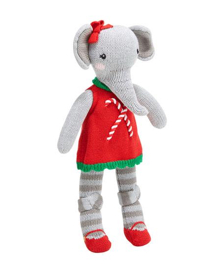 "Zubels Knit Girl Elephant Plush Doll, 14"""