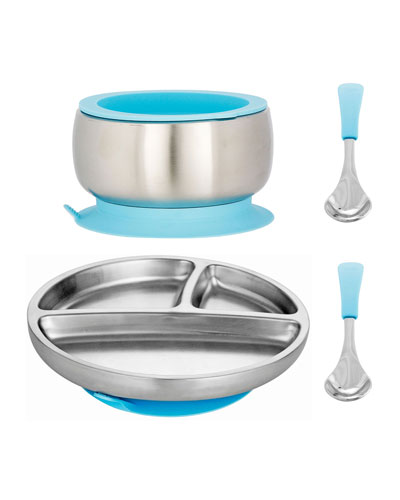 Toddler's Stainless Steel Plate, Bowl & Spoon Set