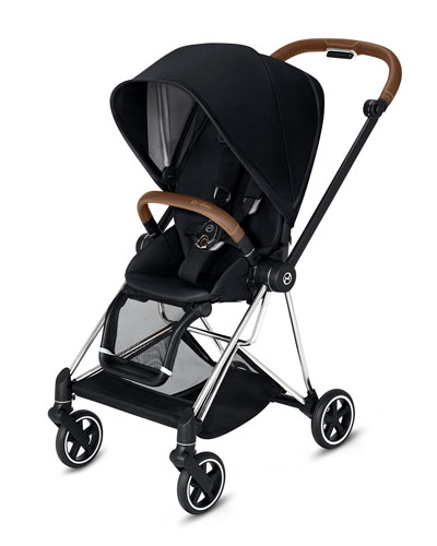 Mios One Box Stroller with Brown/Chrome Frame  Premium Black